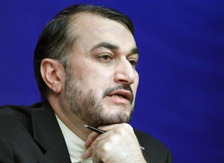 Iran's Deputy Foreign Minister Hossein Amir-Abdollahian speaks during a news conference in Moscow