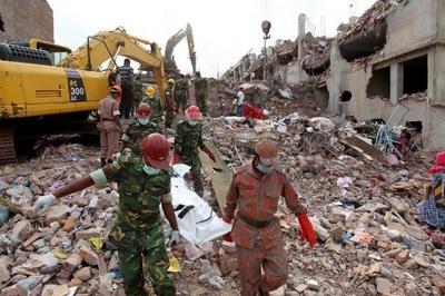 Bangladeshi buidling collapse site