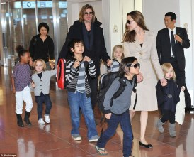 Brad Pitt and Angelina Jolie with their 6 children